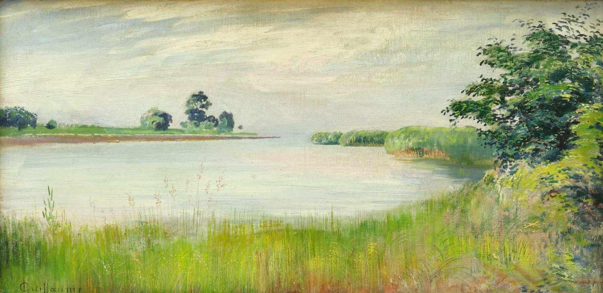 Guillaume, Louis (1865 Neuchâtel - 1942 Marin Lac de Neuchâtel)Sommerliche Uferlandschaft. Öl auf