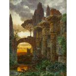 Knab, Ferdinand (1834 Würzburg - 1902 München)Ruinenlandschaft mit Vögeln, den Torbogen