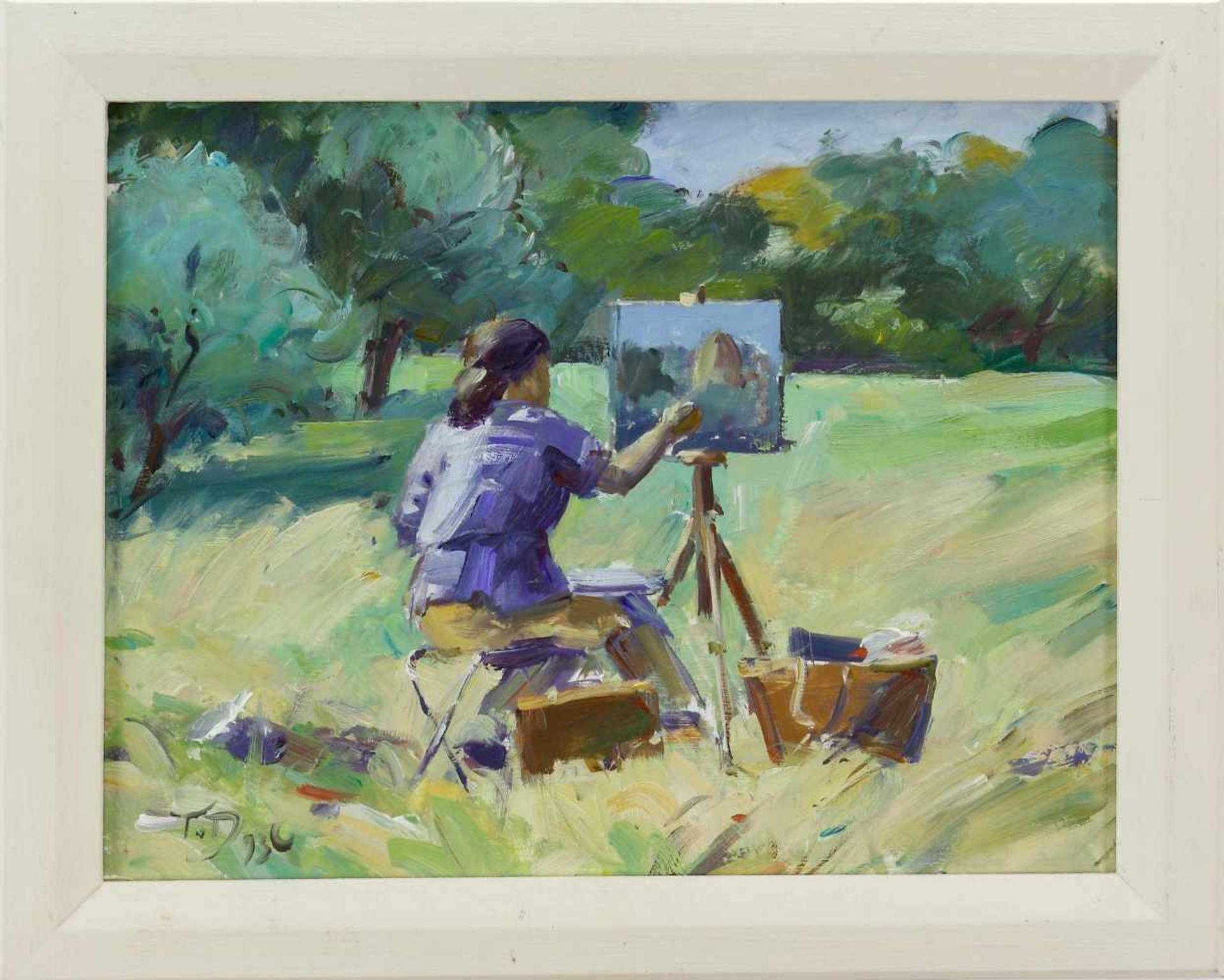 Duwe, Tobias (1961 Bad Oldesloe, lebt in Großensee)Malerin im Freien. 1993. Öl auf Hartfaser. 27 x - Bild 2 aus 2