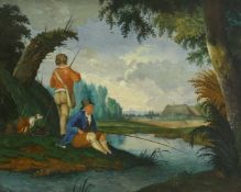 Kobell, Jan II (1778 Delfshaven/Rotterdam - 1814 Amsterdam) zugeschr.Landschaft mit Anglern. Öl