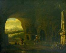 Asselijn, Jan (1610 Dieppe - 1652 Amsterdam) zugeschr. Landschaft, mit Personenstaffage. Öl auf