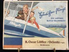"""""""""""Hänschen fliegt"""" ein lustiges Bleyle-Bilderbuch, 1930 Bleyle Stuttgart, Werbung überreicht von R."""