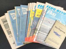 """Konvolut Zeitschriften, 5 Hefte """"Der Flieger""""1958, 1959, 7 Hefte """"Die Flug-Revue"""" 1960er Jahre, dazu"""