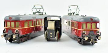 Elektro Triebwagen E370R, Blech, gem. Fleischmann um 1950 , Spur 0, L.ca.56, H.12, B.6cm