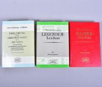 """Konvolut Fachbücher 3 Stk. """"Numismatisches Wappenlexikon"""", """"Numismatisches Legendenlexikon"""", W."""
