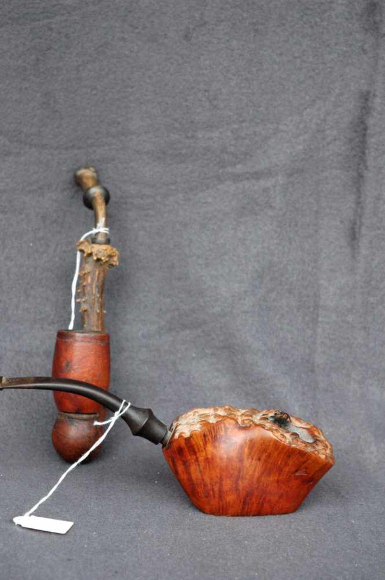 Zwei Pfeifen: Jägerpfeife, Holz und Gehörn; gr. Bruyere-Stück (ca. 9 x 5 cm) - Bild 2 aus 4