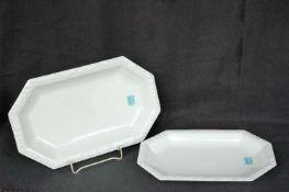Zwei Platten, Rosenthal Maria Weiß, l= 32,5 und 28 cm