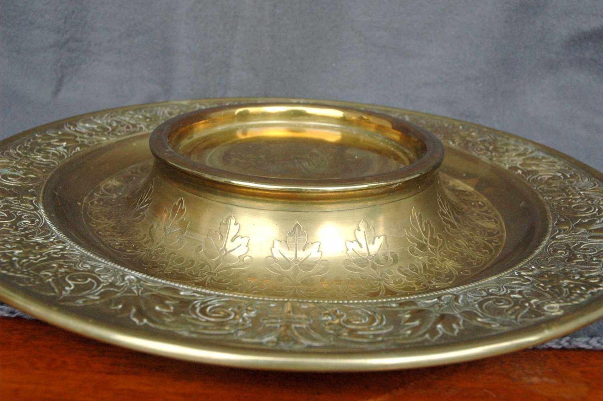 Bowlengefäß, Messing, bernsteinfarbenes Glas mit vier Gläsern - Bild 5 aus 5