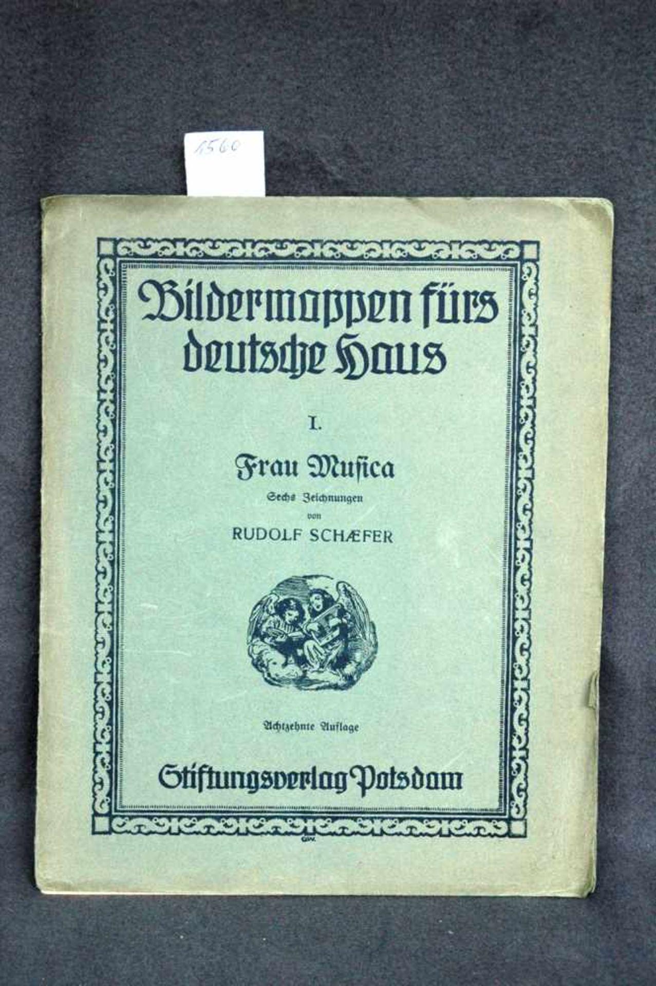 Bildermappen fürs deutsche Haus, 1. Frau Musica, sechs Zeichnungen von Rudolf Schaefer, achtzehnte