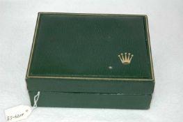 Uhrenbox, Rolex, Holz mit grünem Kunstleder eingeschlagen, 12,5 x 10 x 5 cm