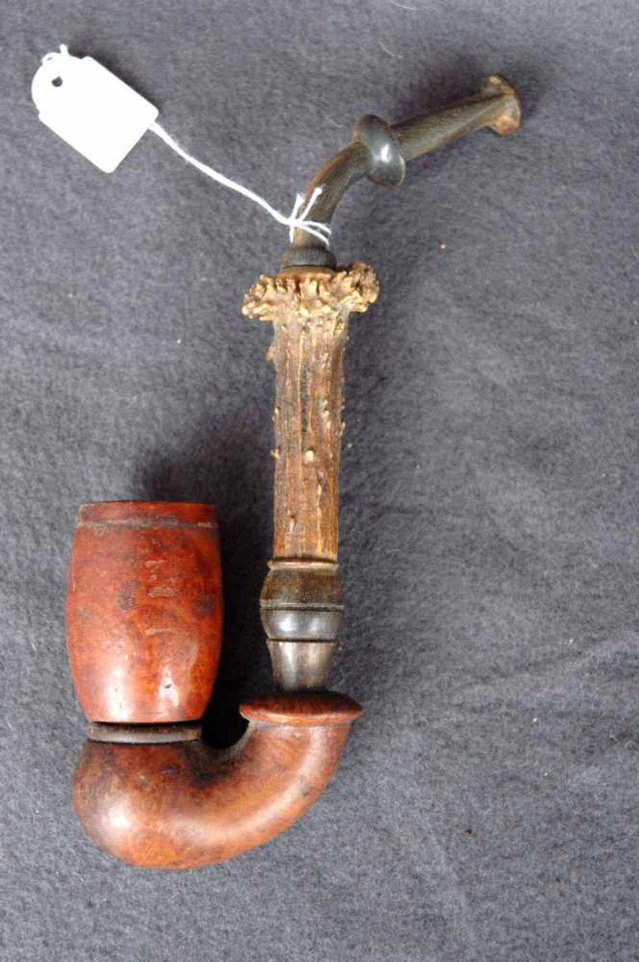 Zwei Pfeifen: Jägerpfeife, Holz und Gehörn; gr. Bruyere-Stück (ca. 9 x 5 cm) - Bild 3 aus 4