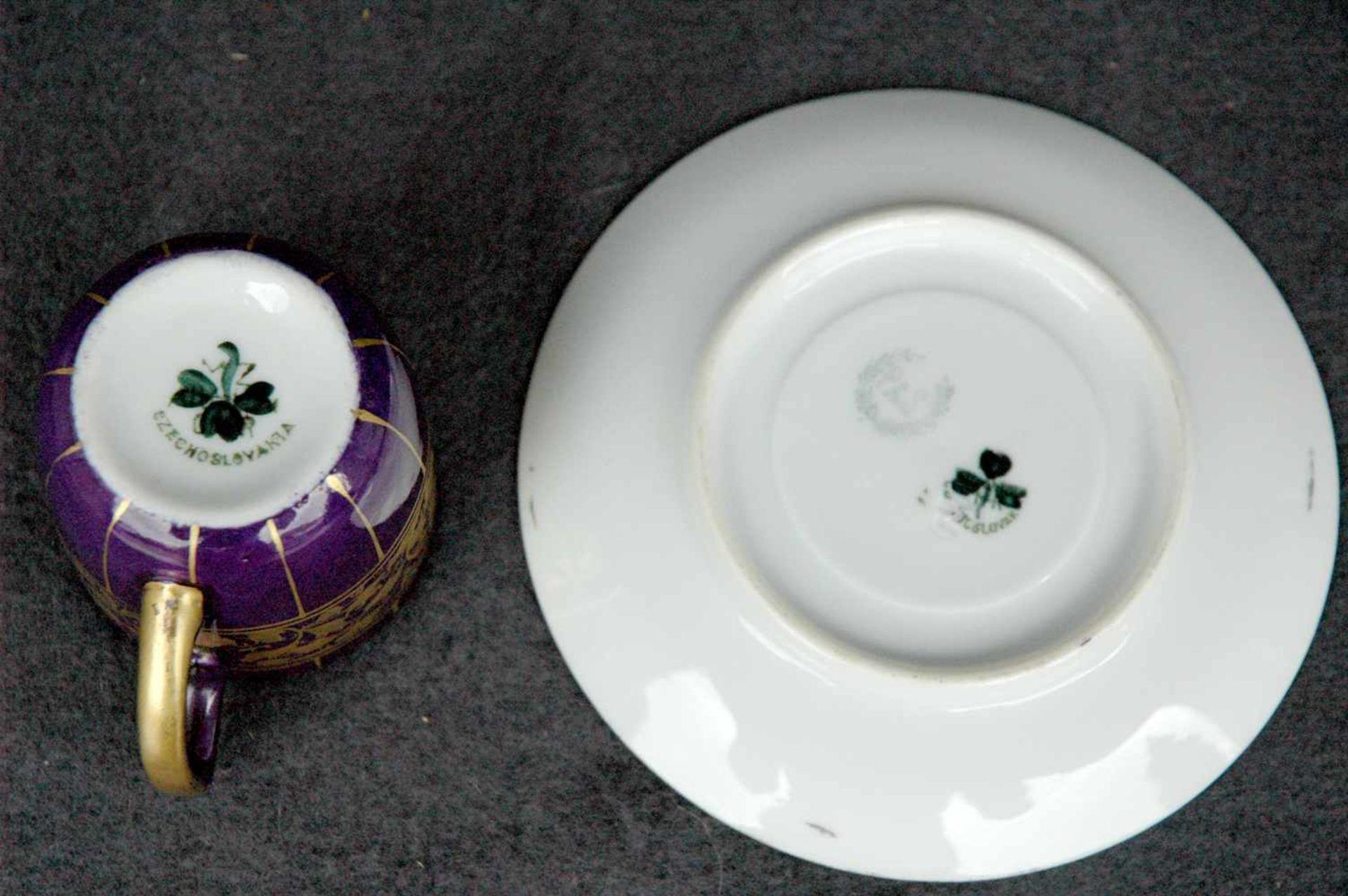 Mokkatasse, P&S, violett und gold - Bild 2 aus 2