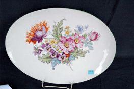 Ovale Platte, KPM-Zeptermarke, Blumenbouquet, l= 40 cm, HE 1943, grüner Rand original?