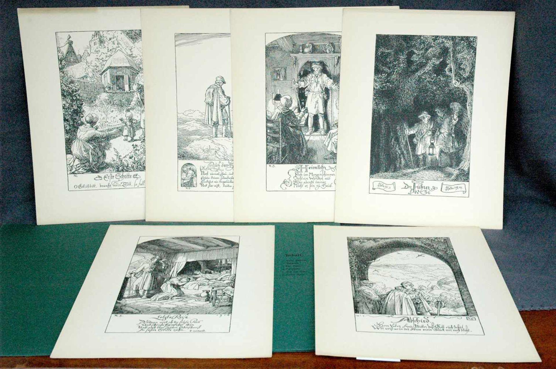 Bildermappen fürs deutsche Haus, Im Wanderschritt des Lebens, sechs Zeichnungen von Rudolf Schaefer - Bild 2 aus 2