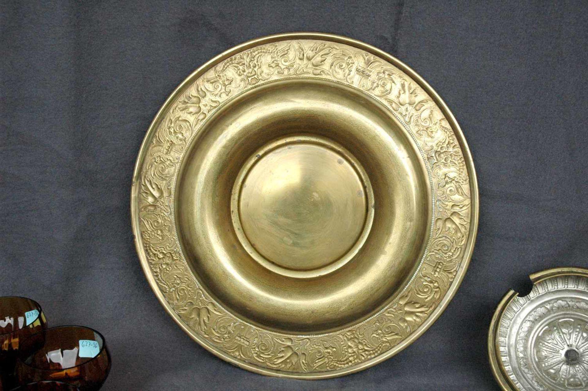 Bowlengefäß, Messing, bernsteinfarbenes Glas mit vier Gläsern - Bild 4 aus 5