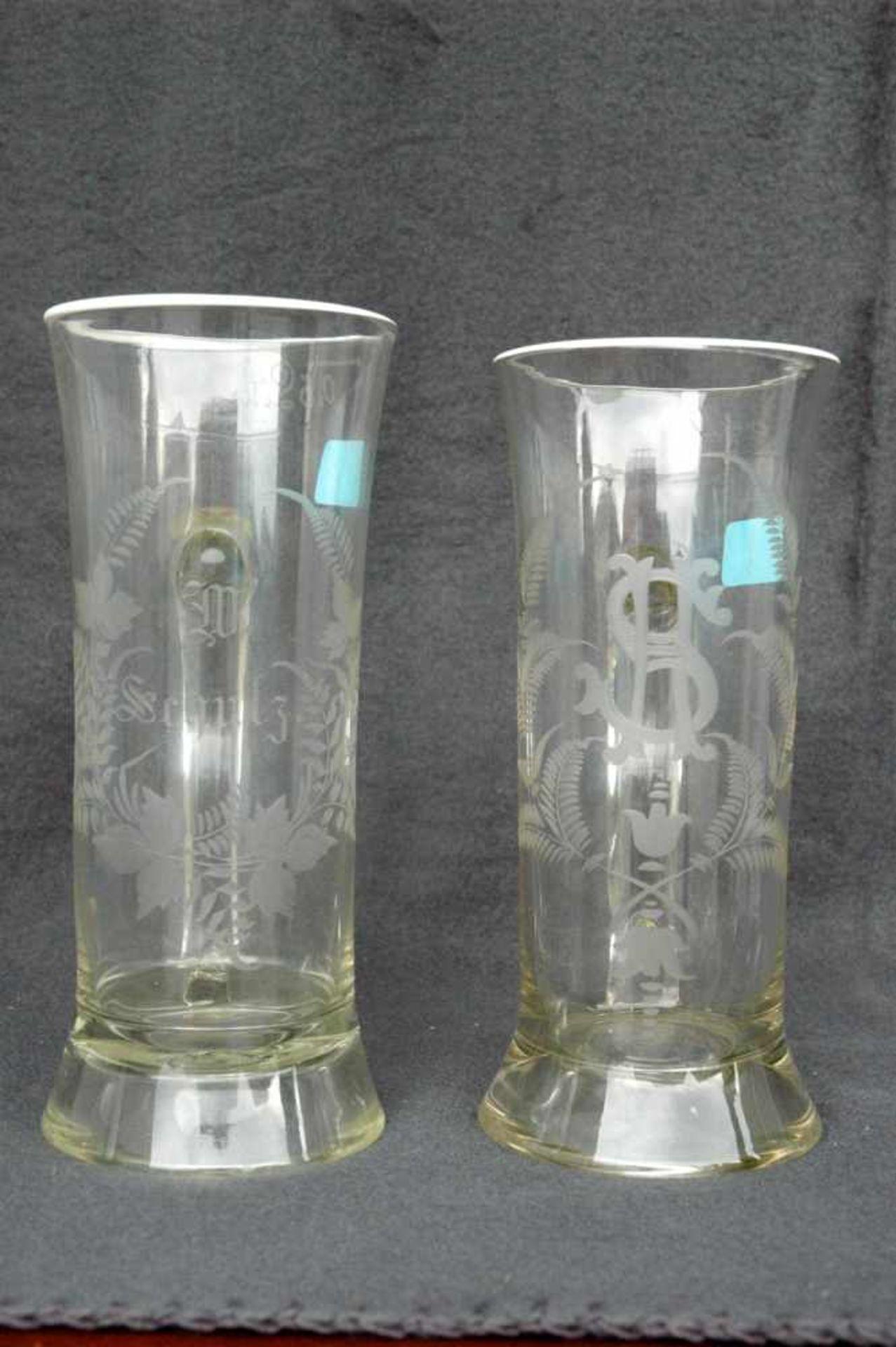 Biedermeier-Glas: zwei Biergläser mit Griffen, geschliffene Blattranken.1= 0,5 l, W. Schulze, h= - Bild 2 aus 4