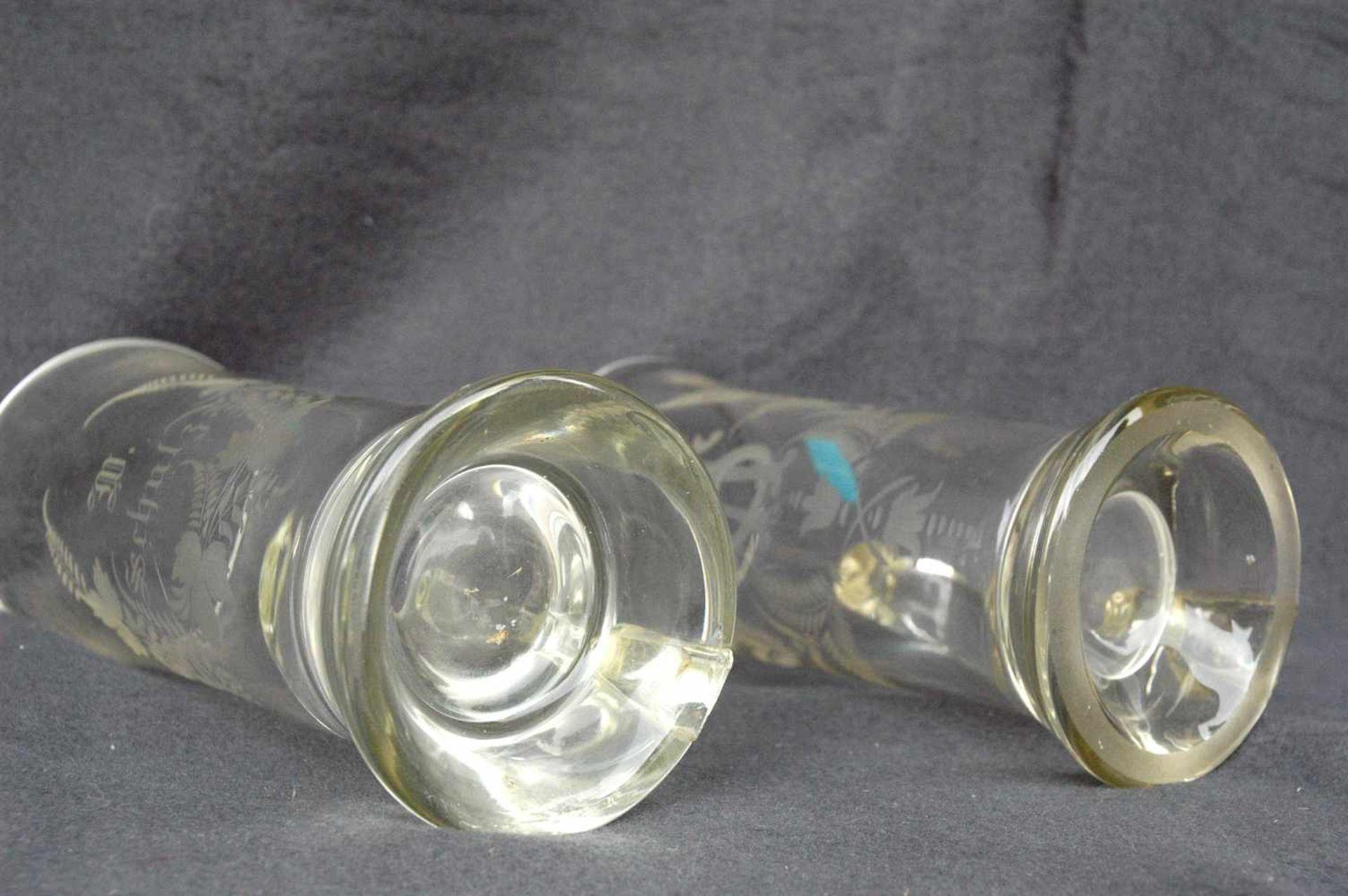 Biedermeier-Glas: zwei Biergläser mit Griffen, geschliffene Blattranken.1= 0,5 l, W. Schulze, h= - Bild 4 aus 4