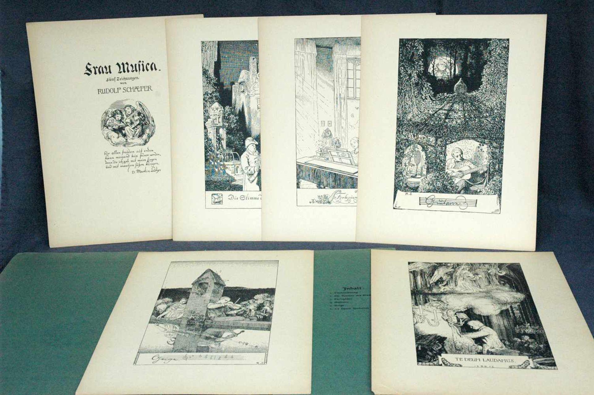 Bildermappen fürs deutsche Haus, 1. Frau Musica, sechs Zeichnungen von Rudolf Schaefer, achtzehnte - Bild 2 aus 2