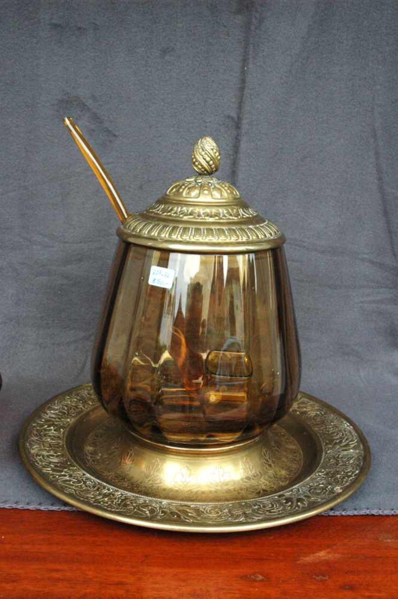 Bowlengefäß, Messing, bernsteinfarbenes Glas mit vier Gläsern - Bild 3 aus 5