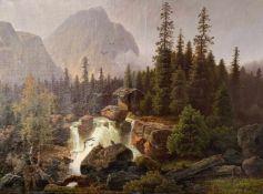 Hans THOMA (1839-1924). Landschaft mit Wasserfall / Landscape with Waterfall. Öl/Lwd, signiert, 72 x