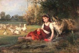 Anton Heinrich Dieffenbach (1831-1914), Gänsemagd oder Gänseliesel mit Hund und Gänsen in einer