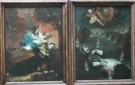 Unbekannter Künstler, 18. Jh. Zwei Szenen aus dem Leben eines Heiligen, vielleicht Ignatius von