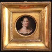 Holland, 18./19. Jh., Miniatur Bildnis einer Dame, rund, D. 6 cm