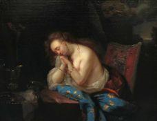 Holländischer Meister, 17. Jh., Reuige Magdalena: Als ehemals wohlhabende Frau, aber nunmehr