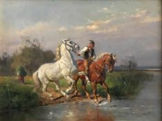 Louis Braun (1836-1916), Stallbursche mit zwei Pferden in ein Gewässer reitend, signiert und datiert