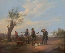 Karl (Carl) Müller (1818-1893). Jagdgesellschaft. Öl auf Holz, signiert und datiert: 1886, 42 x 49