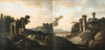 Paar italienische Landschaften, 18. Jh. Öl/Lwd. (aufgez.), 62 x 65 cm. Neben Ruinen im felsigen