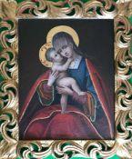 Unbekannter Künstler, 18. Jh., Madonna. Unknown artist, Virgin and child. Vor dunklem Hintergrund