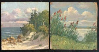 Heinrich Rebentisch (um 1875–1965 niederländischer Künstler), Zwei Landschaften am Meer, mit