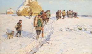 Hugo Mühlig (1854-1929). Jagd im Schnee, um 1900. Hunter in the snow. Öl auf Holz, 20 x 33 cm.