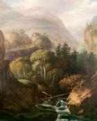 Unbekannter Maler, 19. Jh. Schweizer Landschaft / Landscape, Switzerland Alps. Öl auf Holz,