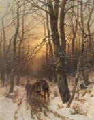 Désiré Thomassin-Renardt (1858-1933). Jäger im Morgenrot des Winterwaldes. Öl/Lwd, signiert, 60 x 48