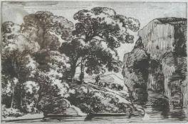Franz Kobell (1749-1822), Landschaft am See mit hohen Felsen und Bäumen sowie einem Hirten mit