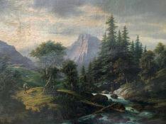 Josef Burgaritzky (1836-1890). Landschaft / Alpine Landscape. Öl/Lwd, signiert, Altersspuren, 75 x