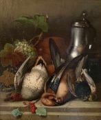 Josef Correggio (1810 - 1891). Jagdstillleben mit Früchten, Zinnkrug und toten Vögeln. Hunting