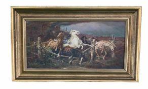 """Otto Eberle. Pferde flüchten vor dem Brand. Öl/Lwd, signiert und datiert: """"1927"""", 25,5 x 52 cm"""