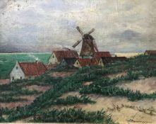 Künstler Herrmann, Landschaft mit Windmühle, signiert, Öl/Malkarton, 30 x 39 cm