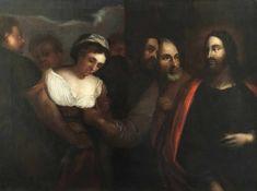 Unbekannter Künstler, Italien 17./18. Jh. Jesus und die Ehebrecherin, Öl/Lwd (aufgez., an einer