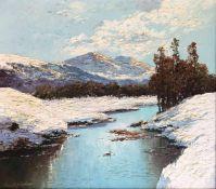 """Georg Arnold-Graboné (München 1886 - 1982 Starnberg), """"Winter an der Loisach"""", Schneelandschaft im"""