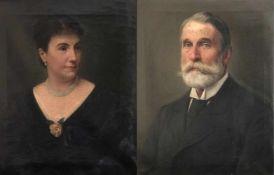 Anton Becker (Frankfurt 1846 – 1915) zugeschr., Paar Bildnisse: Ein gediegener Herr in Anzug und