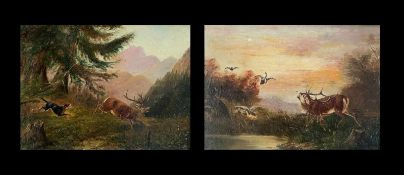 2 x Hirschmotiv. Öl auf Holz, 13,5 x 18 cm
