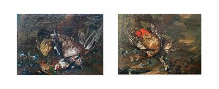 """2 x Jagdstillleben, um 1700. Hunting Still-Life. Öl/Lwd, aufgez., 1 x signiert mit Monogramm: """"J."""