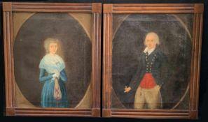 Paar Biedermeier Portraits, um 1820. Pair of portraits of a gentleman and lady. 19th c., Öl/Lwd,