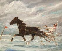 Franz HIENL-MERRE (1869-1943). Pferderennen. Jockey auf einem Sulky. Öl/Karton, signiert, 52 x 62