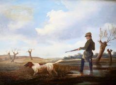 Jacob Munk (1809-1885). Jäger mit Hund. Berlin 1885. Entenjagd, Entenstrich. Öl auf Holz, 19,5 x