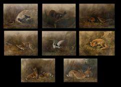 Eugen von Kramer (1842 - 1900), 8 Stück Tierdarstellungen, Ölfarbe auf Papier, 30 x 36 cm. Alle